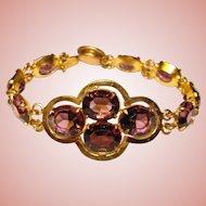 Fabulous ART DECO Purple Glass Stones Bracelet