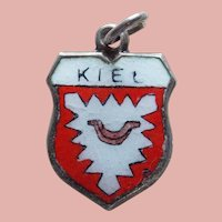 Vintage 800 Silver & Enamel Kiel Estate Charm - Travel Souvenir of Germany