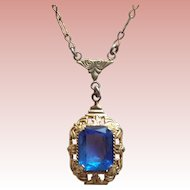 Dainty Art Deco Blue Glass Stone Necklace