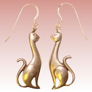 Sassy CATS Sterling Silver Dangle Earrings