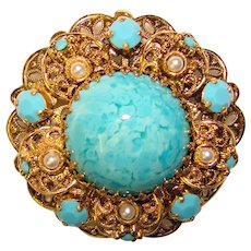 Gorgeous Germany TURQUOISE Glass & Rhinestone Vintage Brooch