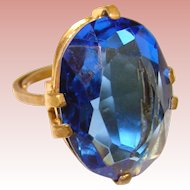 Gorgeous Signed BLUE Glass Vintage Ring