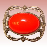 Tiny Antique RED Glass Mini Brooch - For Doll or Lapel