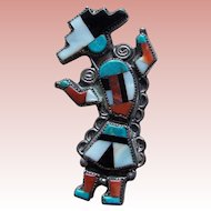 Fabulous Sterling & Inlaid Stone to Stone Vintage Brooch - Native American Indian Rainbow Dancer