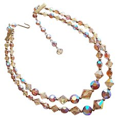 Gorgeous Fawn Brown Aurora Crystal 2 Strand Vintage Necklace