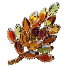 Fabulous Fall Colors Rhinestone Vintage Brooch - Open Backed Givre Glass Stones Autumn