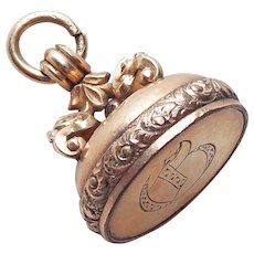 Antique Victorian Fancy Fob or Pendant - Fob for Watch Chain or Necklace Initial C or B