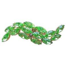 Gorgeous Green Rhinestone Vintage Brooch