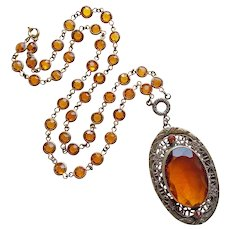 Fabulous Art Deco Amber Glass Necklace - Bezel Edge Set Open Crystal Chain