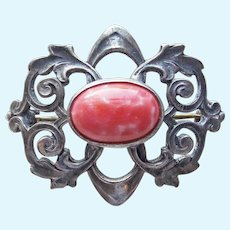 Tiny Antique Coral Glass Mini Sash Pin Brooch - For Doll or Lapel