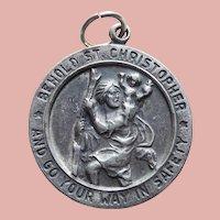 Sterling ST. CHRISTOPHER Vintage Medal Charm or Pendant - Signed Chapel