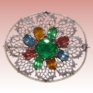 Fabulous ART DECO Filigree Colored Stones Estate Pin Brooch