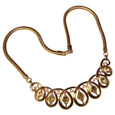 Fabulous TRIFARI Signed Clear Diamond Shaped Rhinestones Vintage Necklace