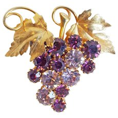 Gorgeous Grapes Purple & Lavender Rhinestone Vintage Brooch