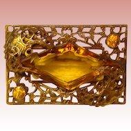 Fabulous Art Deco Amber Glass Filigree Estate Brooch