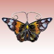 Fabulous DAVID ANDERSEN Sterling & Enamel Butterfly Vintage Brooch - Norway Signed