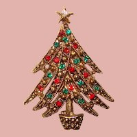 Gorgeous Vintage Red & Green Rhinestone CHRISTMAS TREE Brooch