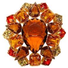 Fabulous Amber Brown & Orange Vintage Rhinestone Brooch