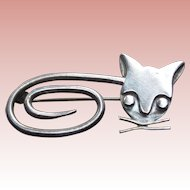 Signed Mexican Sterling Cat Taxco Vintage Brooch - Modernist Design