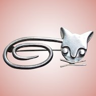 Signed Mexican Sterling Cat Taxco Vintage Brooch - Modernist Design