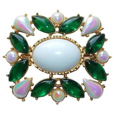 Gorgeous Green Iridescent & White Stones Vintage Brooch