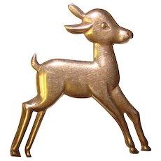 STERLING Figural Deer Fawn Vintage Brooch