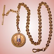 Fabulous Antique WATCH CHAIN with Enameled Fob