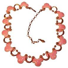 Fabulous MATISSE Pink Enamel Copper Link Necklace