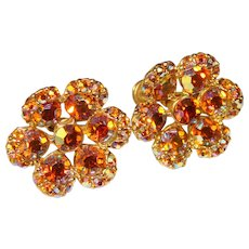 Gorgeous Amber Aurora Rhinestone Vintage Earrings