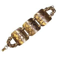 Fabulous Wide PATTERNED ALUMINUM Vintage Panel Bracelet