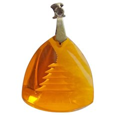 Gorgeous PAGODA Carved Amber Glass Vintage Pendant