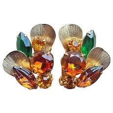 Fabulous D&E Juliana Green Amber Topaz Rhinestone Vintage Earrings