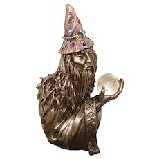 Impressive Wizard with Crystal Ball Signed JJ Vintage Brooch - Jonette Jewelry Company