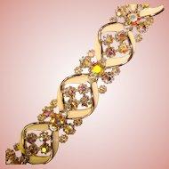 Fabulous ART Signed Aurora Rhinestones Bracelet