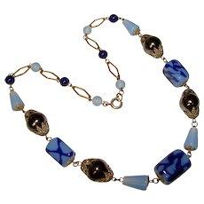Fabulous Czech ART DECO Blue & Silver Black Glass Necklace