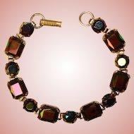 Fabulous DARK RAINBOW Glass Stones Vintage Bracelet