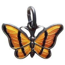 Denmark Sterling & Amber Orange Enamel Butterfly Vintage Pendant or Charm - Volmer Bahner