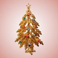 Fabulous ART Signed Vintage CHRISTMAS TREE Rhinestone Brooch