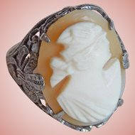 Gorgeous Art Deco Sterling Carved Shell Cameo Ring - Size 4 1/4 - 4 1/2 Pinkie