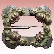 Fabulous Water Lily Victorian Sash Pin Antique Brooch - Figural Waterlily Water Lilies