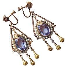 Fabulous Art Deco Alexandrite Color Glass Flapper Earrings