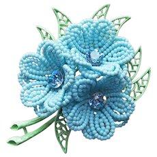 Awesome Flower Power Enamel & Plastic Vintage Brooch - 1960s Dimensional