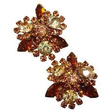 Fabulous TOPAZ BROWN Aurora Rhinestone Vintage Clip Earrings