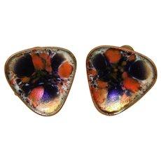 Awesome HOGAN BOLAS Vintage Enameled Earrings