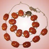 Fabulous STERLING & GOLDSTONE Vintage Necklace and Bracelet Set