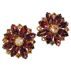 Fabulous PURPLE Aurora Borealis Rhinestone Vintage Clip Earrings