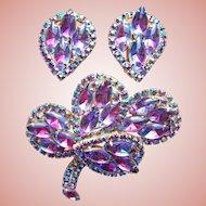 Fabulous Raspberry Pink Purple & Aurora Rhinestone Vintage Brooch Set