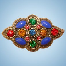 Small Vintage Enameled & Jeweled Mini Brooch - For Doll or Lapel