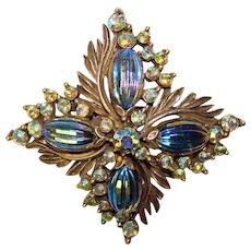 Fabulous FLORENZA Peacock Melon Stones Rhinestone Signed Vintage Brooch