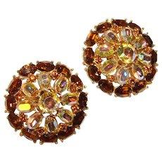 Fabulous TRIFARI Topaz Brown & Aurora Oval Shapes Rhinestone Clip Earrings